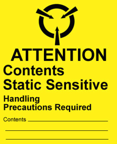 Warning Attention - Contents Static Sensitive Shipping Label