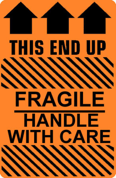 Caution Fragile Handle With Care - This End Up Shipping Label