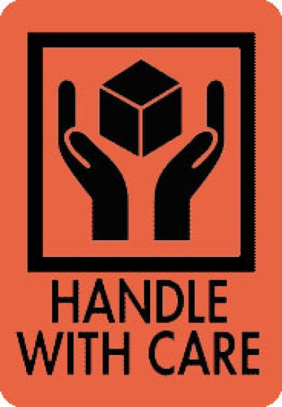 Caution Handle With Care Shipping Label