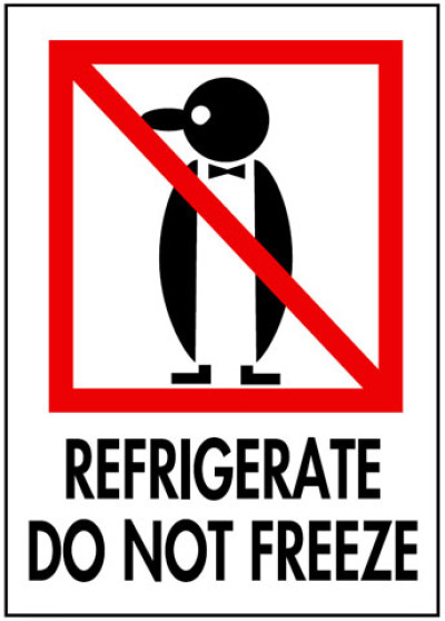 Packing Refrigerate Do Not Freeze Shipping Label