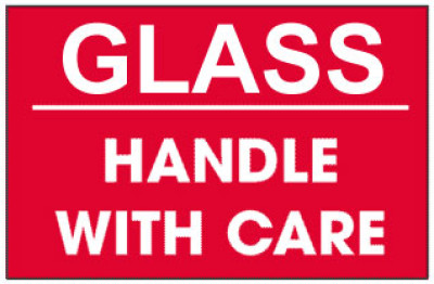 Packing Glass Handle With Care Red Shipping Label