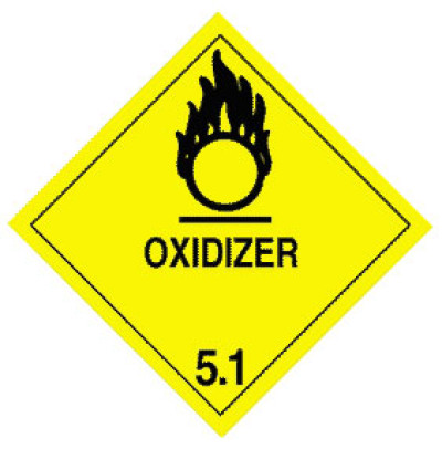 Warning Oxidizer Label