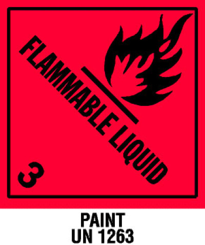 Warning Flammable Liquid with Note Shipping Label